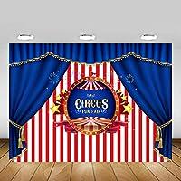 GooEoo 10x7ft サーカス写真の背景ピンクホワイトストライプブルーカーテンの背景キッズパーティーの装飾写真の背景家族のパーティーの誕生日の背景ベビーシャワーの装飾ビニール素材