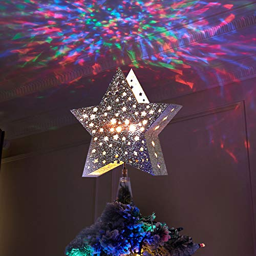 Vanthylit Golden Star Christmas Tree Topper Projector Tree Top Star with Water Ripple Effect LED Projector Christmas Tree Decoration(RGB)