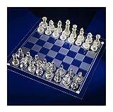 FGUD Juego de Tablero de ajedrez de Vidrio for ajedrez de Cristal Juego de ajedrez de Cristal Junta de Adultos jóvenes