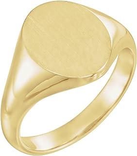 FB جواهر الذهب الأصفر 14 قيراط 10x8 مم للرجال خاتم سيجنيت بيضاوي