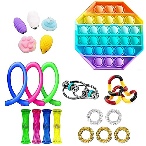 WEDSFC Sensory Fidget Toys Set,Stress Relief and Anti-Anxiety Tools Bundle for Kids and Adults, School Classroom Rewards, Carnival Prizes,Goodie Bag Fillers,A