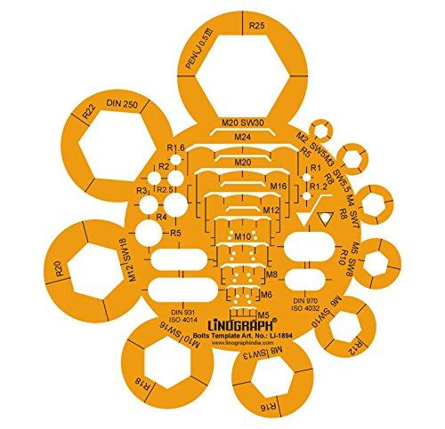 Schrauben Muttern Schrauben Entwurf und Design-Vorlage Stencil Symbole Technische Zeichnung Maßstab Template