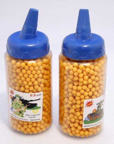 Absolut hochwertige gelbe Kugeln 4000 Stück Plastik 6 mm Munition in praktischer Dosierflasche für Softair-Pistole oder Softair-Gewehr