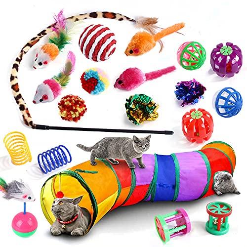 Queta 20pcs Juguetes Interactivos para Gatos, Juguetes Gatos Interactivos con Tunel, Ratones, Bola de estambre, Palo de Gato Gracioso, Catnip, Pescado, Pelotas para Gatos