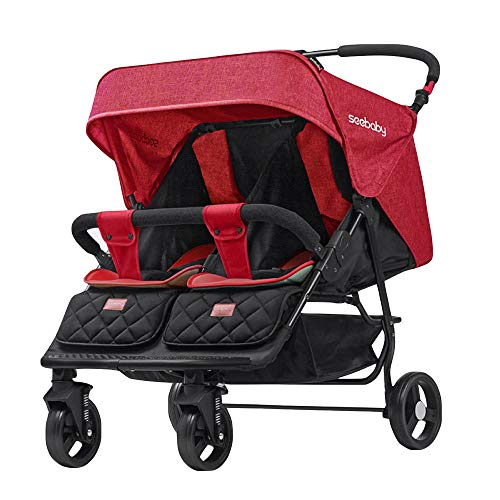 Review BO LU Double Strollers Double Seats for Twins Foldable Can Sit and Lie with Awning Adjustable...