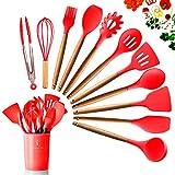 DOPGL Set di 11 Utensili da Cucina in Silicone, Resistenti al Calore, con Manici in Legno, Senza BPA, in Silicone atossico, spatola, Cucchiaio, Utensili da Cucina per antiaderenti Rosso