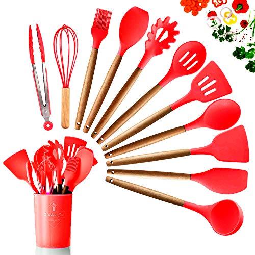 DOPGL Juego de 11 utensilios de cocina de silicona, resistentes al calor, mango de madera, sin BPA, no tóxico, espátula, espátula, cuchara, utensilios de cocina antiadherentes Rojo