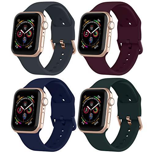Adepoy für Apple Watch Armband 40mm 44mm 38mm 42mm,Silikon Sport Ersatzarmband mit Edelstahlverschluss Kompatibel mit iWatch 6/5/4/3/2/1 (4er Pack)
