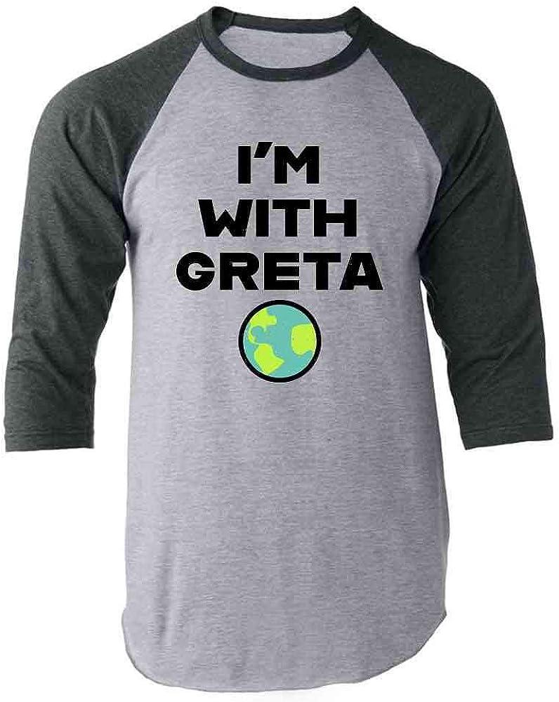 Pop Threads I'm with Greta Planet Earth Green Climate Activist Gray 2XL Raglan Baseball Tee Shirt