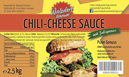 Walsdorf Gourmet Chili-Cheese Sauce – Käsesauce – Nacho Sauce – Burgersauce – Käse Dip (1 x 2,5kg Eimer)
