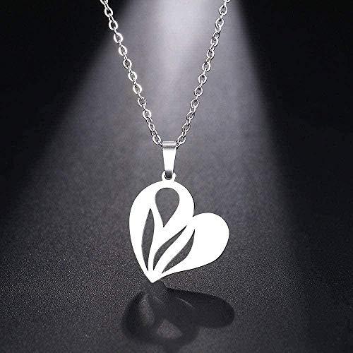 niuziyanfa Co.,ltd Collar de Acero Inoxidable para Mujer, Hombre, Hoja, corazón, Colgante, Gargantilla, Collar, joyería de Compromiso