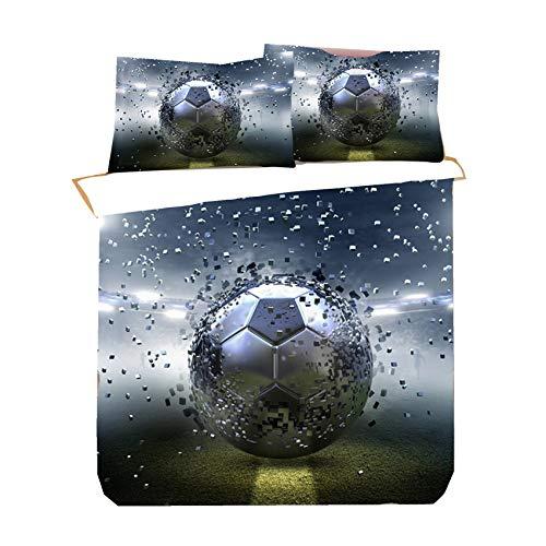 Football Shoot Sport Game Duvet Cover with Zipper, 2/3 Pieces Soccer Baseball Blue Grey Football Goals Bedding Set for Boy Man Polyester Non-iron (Multi,Double 200 x 200cm)