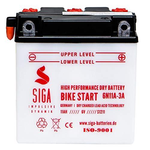 SIGA Motorradbatterie 6V 11Ah 100A/EN Batterie 6N11A-3A Simson Vespa 01211