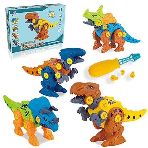 Coriver Juguetes de Dinosaurio con Destornillador y Bolsa de Almacenamiento, Kits de Modelos de Figuras de Dinosaurio Desmontables