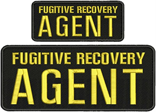 Fugitive Recovery Agent 4x10 and 2.5x6 Gold Letters with Hook on Back