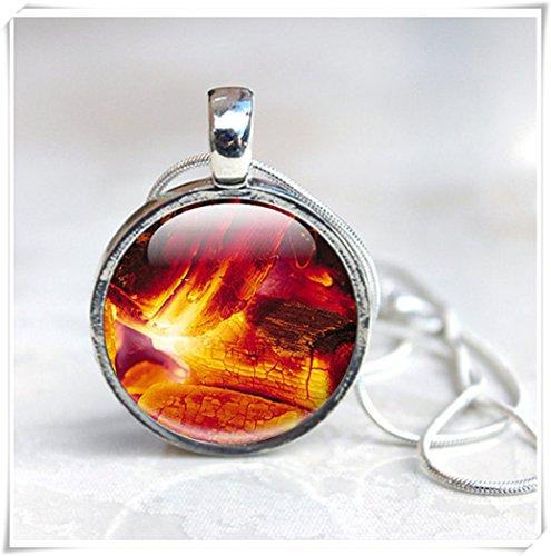 Leonid Meteor Halskette mit Brennscheiten, Feueranhänger, Brennende Halskette, warm, orange, schwarz,