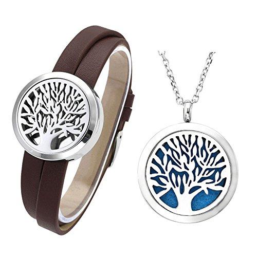 JOVIVI Schmuck Set,316L Edelstahl Lebensbaum Aromatherapie Diffusor Locket Lederarmband + Halskette mit 12 Pads,(braun)