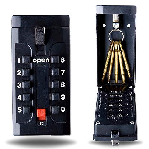Schlüsselsafe Druckknopfbedienung - Wandmontage - Individuell Einstellbarer Zahlencode - Wetterfest - Passend für Schlüssel und Plastikkarten - Schwarz