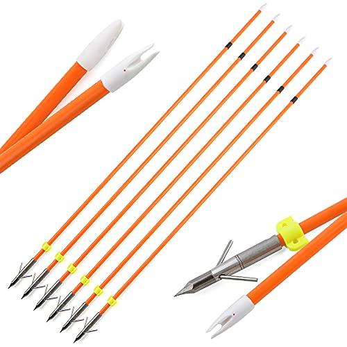 SHARROW Flechas de Pesca con Arco Flecha de Fibra de Vidrio Bowfishing con Broadheads Safety Slide para Arcos Compuestos Recurvo (3)