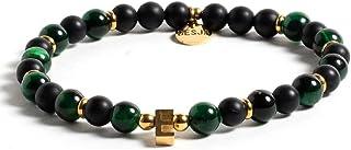 Bracciale pietra Onice Nero e Occhio di Falco Verde lettera personalizzata chiusura moschettone firmato Desja