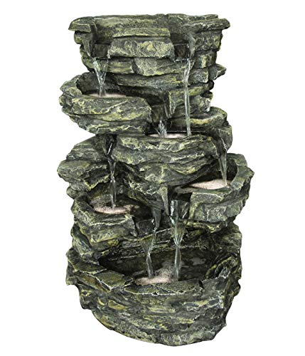 Dehner Gartenbrunnen Rocky mit LED Beleuchtung, ca. 60 x 39.5 x 32.5 cm, Polyresin, grau