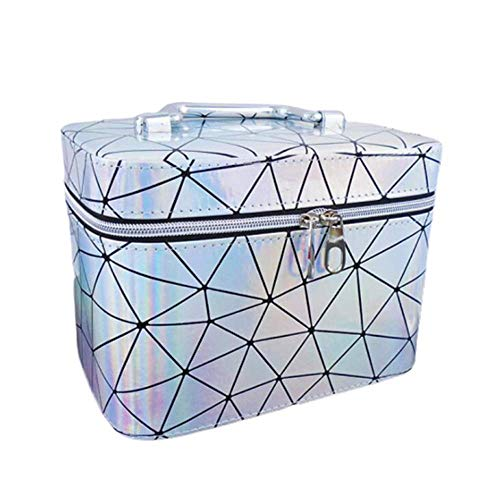 JLYLY Sac Cosmétique Femelle Portable De Grande Capacité Bagage À Main WC Stockage De Cas Cosmétique,Argent,L