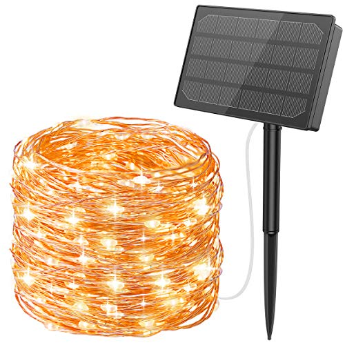 Criacr Solar String Lights, 500 LED Solar Garden Lights, 50M 8 Modes Solar Lights Outdoor, Waterproof Copper Wire Garden Lights for Tree, Garden, Home, Wedding, Pathway, Party (Warm White)