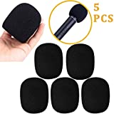 5 Pack Large Foam Cover Mic Windscreen Microphone Cover Handheld Foam Windscreen for MXL, Audio,Perfect Pop Filter for Recording,Black