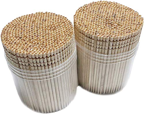 Makerstep Wooden Toothpicks 1000 Pieces Ornate Handle, Sturdy Cocktail Picks Safe Large Round Storage Box 2 Packs of 500 Party Appetizer Olive Barbecue Fruit Teeth Cleaning Art Crafts