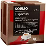 Amazon Brand - Solimo Espresso Capsules 50 CT, Compatible with Nespresso Original Brewers