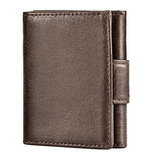UNEEDE Mini Geldbörse mit RFID-Schutz Leder Slim Wallet Geldklammer mit Münzfach für Herren