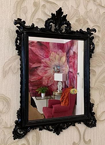 C12 M - Espejo de pared (36 x 24 cm), diseño barroco, color negro