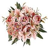 Kisflower 2 Bündel künstliche Pfingstrosen Blumen Seiden Pfingstrosenstrauß mit Lilie künstlicher Lilienstrauß für Home Tisch Hochzeit Büro Dekor (Rosa 2)