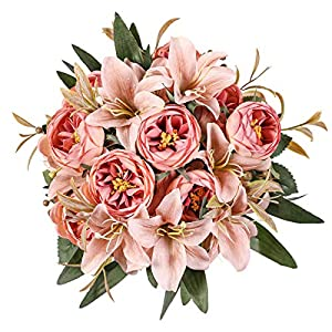 Kisflower 2 Bunches Artificial Peony Flowers Silk Peony Bouquet with Lily Artificial Lily Bouquet for Home Table Wedding Office Decor