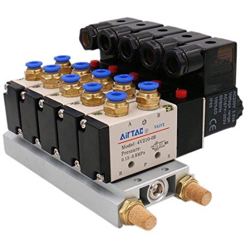 heschen eléctrica neumática 5Válvula de solenoide 4V210–08AC 220V PT1/45way 2posición colector base Silenciador Rápida Accesorios Set