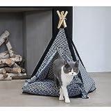 Kdrirad Animal de Compagnie Tipi Amovible Et Lavable Tente d'Animal Domestique for Chien et Chat Portable (Color : Black and White, Size : 60 * 60 * 80cm)
