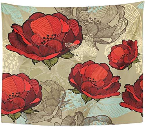 Flores rojas abstractas mano Flora gráficos fauna tapiz colgante de pared para sala de estar dormitorio dormitorio 150x200cm