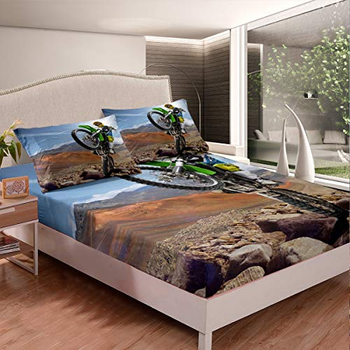 Motocross Rider Fitted Sheet Kids Boys Extreme Sports Theme Teens Dirt Bike Bed Sheet Set Bedding Set 3D Motorcycle Bed Cover,Room Decor 3Pcs Sheets Full Size