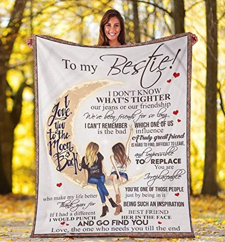 Personalized to My Bestie Moon Fleece Blanket Gift for Friend from Bestie I Love You to The Moon and Back Customized Blanket for Birthday Wedding Anniversary Friend Day Graduation