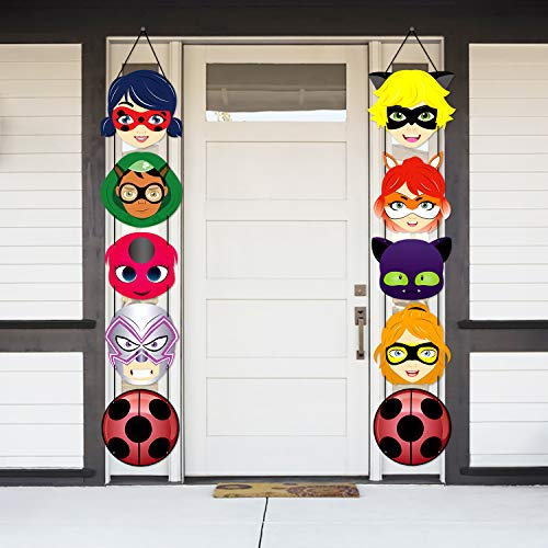 PANTIDE Ladybug Cutouts Door Sign Porch Sign Hanging Flags Banners for Outdoor Indoor Home Wall Decorations, Ladybug and Cat Noir Themed Birthday Party Banners Party Decorations Supplies (10 Packs)