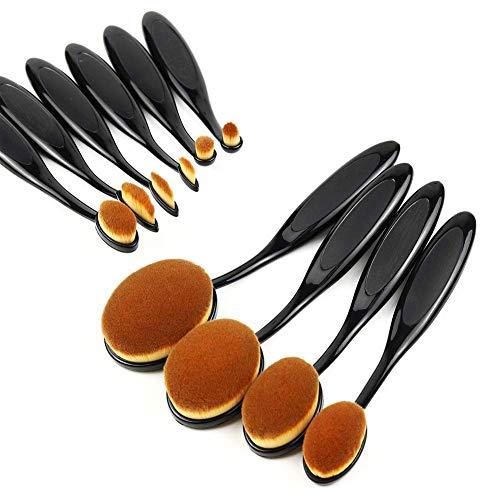 Hieefi 10 Stück Makeup Pinsel, Foundation Pinsel,Make Up Brush,Weiche Ovale Zahnbürste Geformte Konturbürste Puder Erröten Concealer Eyeliner Mischbürste Kosmetische Bürsten Werkzeugset