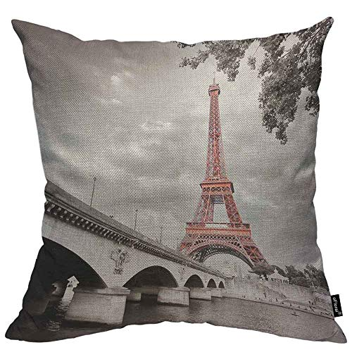 oFloral Eiffel Tower Throw Pillow Cushion Cover from Seine River Under The Bridge Selective Colorization Decorative Square Accent Pillow Case 20x20 inch