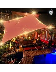 Luifel Driehoekig Waterdicht Zonzeil Rechthoekig met Led Buitenshuis Tuin Zonnelampen Zonwering Ademende UV-bescherming voor Camping Patio Balkon Tuin Terras en Grill