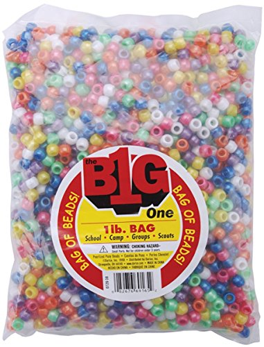 One Bag of 1 Lb Darice Pony Beads 9mm Pearlized Multi