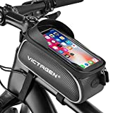 Victagen Bike Phone Front Frame Bag, Bike Phone Pouch, Bicycle Handlebar Bag, Waterproof Bike Phone Mount Top Tube Bag, Bike Accessories, Fits for iPhone Plus xs max, 6.5''