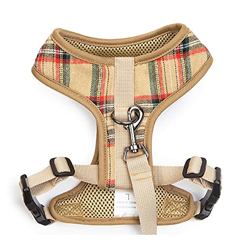 Arnés para perros Pet Supplies Leash Set Dog Harness Dog Vest Pet Leash Polyester Brace Chest Strap Buckle Design Can Adjust The Bust Size Arnés para gatos (Color : Dark Khaki, Size : Medium)