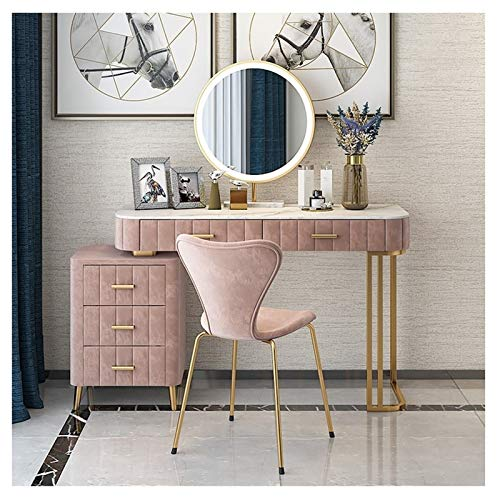 Tavolo da Trucco Vanidad fijado con el Espejo de maquillaje iluminado vanidad Tocador Dresser Escritorio con cajón grande for el dormitorio rosa Mobiliario de dormitorio 120x40x75cm ( Color : Pink )