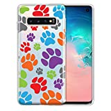 FINCIBO Case Compatible with Samsung Galaxy S10 6.1 inch, Clear Transparent TPU Silicone Protector Case Cover Soft Gel Skin for Galaxy S10 (NOT FIT S10 Plus) - Color Dog Paws