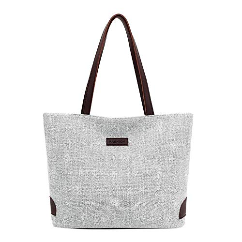 Occitop Fashion Bolsas de lona femininas casuais grande capacidade para compras, Cinza, Show in description