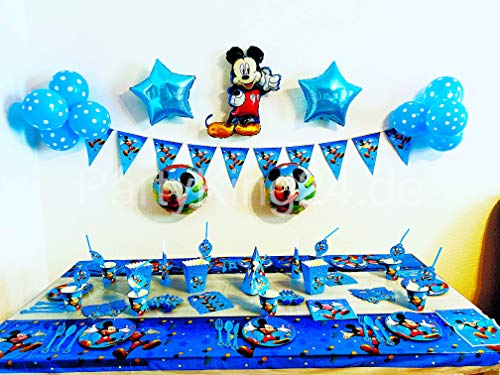 Juego de vajilla de fiesta de 145 piezas de Mickey Mouse, para fiesta de cumpleaños infantil, diseño de Mickey Mouse